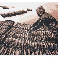 中国彩色剪纸传承人代表张延茹剪纸--晒鱼 装裱字画