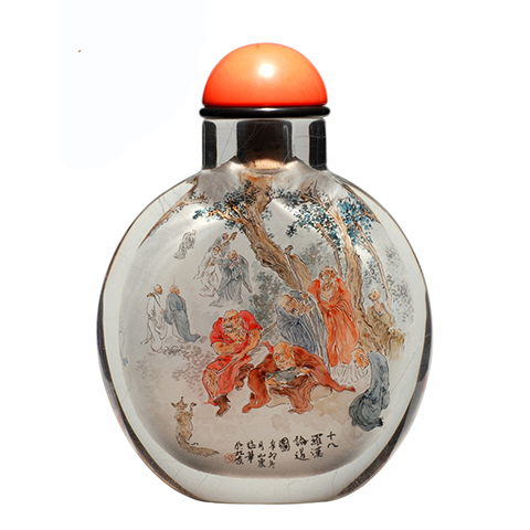 中国工艺美术大师 张广庆内画--十八罗汉论道图 天然水晶