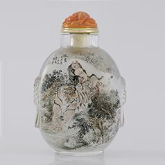 中国工艺美术大师 张广庆内画--降龙伏虎图 天然水晶