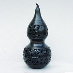 非遗龙山黑陶传承人王志水作品--宝葫芦 漆黑油光 细腻