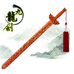 非物质文化遗产桃木雕刻传承人王来新--九龙剑 精雕细刻
